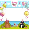 Happy Birthday background with cat dog and cupcake vector image vector image