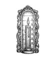 ink sketch candle clock vector image vector image