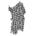 italian sardinia island map collage of binary vector image
