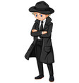 male detective in black overcoat vector image vector image