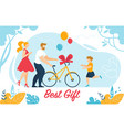 mother and father presenting bicycle to little son vector image