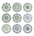 nine decorative plates with circular colored vector image vector image