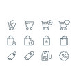 online shopping line icons set on white background vector image