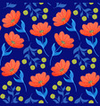 pattern with orange tulips vector image vector image