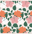 pink and orange big flowers in a seamless pattern vector image vector image