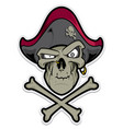 pirate skull with hat and cross bones vector image