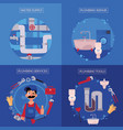 plumbing concept posters set vector image
