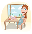 Pregnant woman work at home vector image