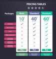 price table template with three plan vector image vector image