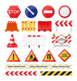 road construction signs set city build and repair vector image