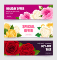 rose banners set vector image vector image