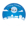 santa claus reindeer sleigh over city vector image vector image