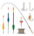 set of fishing tackles colorful icons isolated on vector image vector image