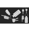 Set of realistic keys Chalk on blackboard vector image vector image
