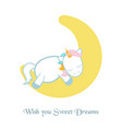 unicorn asleep on the moon unicorn asleep on the vector image vector image