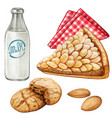 watercolor almond cake and amaretti cookies vector image vector image