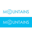 white and blue travel logo of mountains vector image vector image