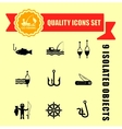 fishing guality icons set vector image