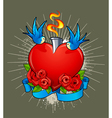 heart with birds vector image