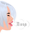 a burp from mouth of a beautiful girl vector image vector image