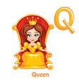 alphabet letter q queen vector image vector image