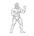 bearded boxer fighting stance drawing black and vector image vector image