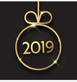 black 2019 new year background with gold christmas vector image