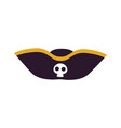 black scary pirate hat icon vector image
