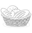 bread in a basket contour vector image