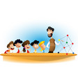 cartoon boys and girl with teacher vector image vector image