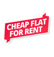 cheap flat for rent word on red ribbon headline vector image vector image