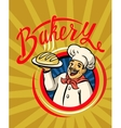 chef with hat and hot bread vector image vector image