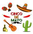 cinco de mayo celebration in mexico icons set vector image vector image