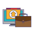computer with upload sign and briefcase vector image vector image