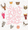 cute animals collection labyrinth game for vector image vector image