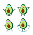 cute smiling happy strong avocado vector image vector image