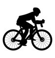 cyclist on bike silhouette icon black color flat vector image