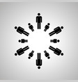 dads and sons silhouettes arranged in round dance vector image vector image