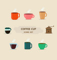 design coffee cup icons set vector image