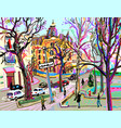digital plein air painting of kiev street vector image vector image