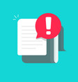 document with alert or error notification bubble vector image vector image