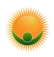 energized sun with green man figure icon vector image