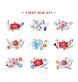 first aid kit medical emergency box equipment and vector image vector image