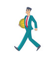 flat businessman walking holding bitcoin vector image