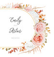 floral autumn winter wedding invite card design vector image vector image