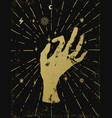 gold witchs hand with light rays and symbols of vector image vector image