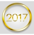 Golden circle button with 2017 vector image