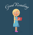 good reading placard with blonde girl vector image vector image