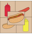 hot dog with sausage and mustard and ketchup vector image