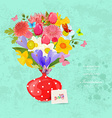 Invitation card with bouquet of lovely flowers in vector image vector image